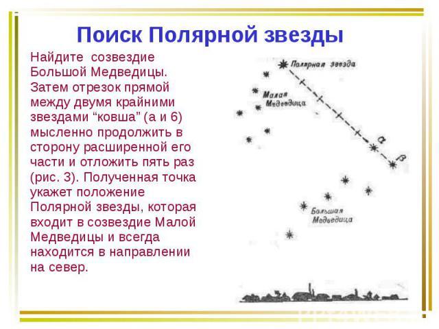 """Найдите созвездие Большой Медведицы. Затем отрезок прямой между двумя крайними звездами """"ковша"""" (а и 6) мысленно продолжить в сторону расширенной его части и отложить пять раз (рис. 3). Полученная точка укажет положение Полярной звезды, которая вход…"""