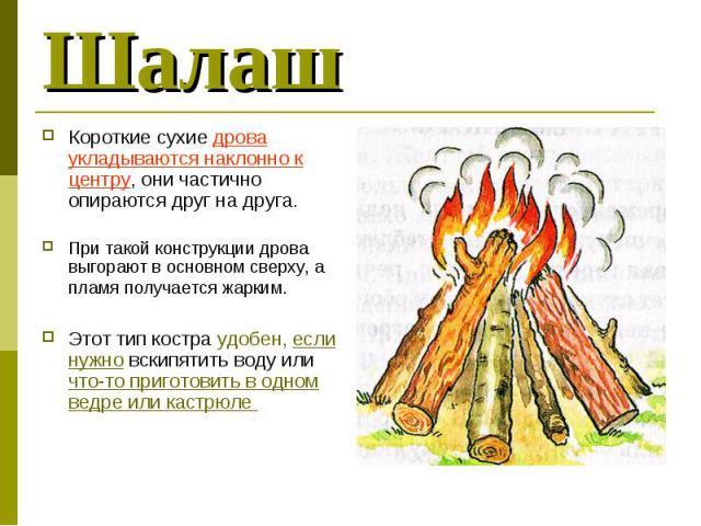 Короткие сухие дрова укладываются наклонно к центру, они частично опираются друг на друга. Короткие сухие дрова укладываются наклонно к центру, они частично опираются друг на друга. При такой конструкции дрова выгорают в основном сверху, а пламя пол…