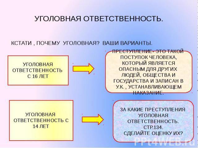 УГОЛОВНАЯ ОТВЕТСТВЕННОСТЬ.