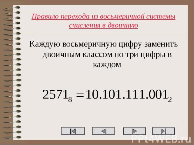 Каждую восьмеричную цифру заменить двоичным классом по три цифры в каждом Каждую восьмеричную цифру заменить двоичным классом по три цифры в каждом