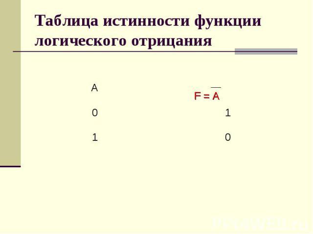 Таблица истинности функции логического отрицания