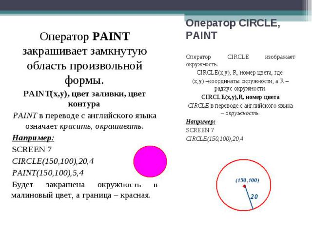 Оператор CIRCLE изображает окружность. Оператор CIRCLE изображает окружность. CIRCLE(x,y), R, номер цвета, где (х,у) –координаты окружности, а R – радиус окружности. CIRCLE(x,y),R, номер цвета CIRCLE в переводе с английского языка – окружность. Напр…