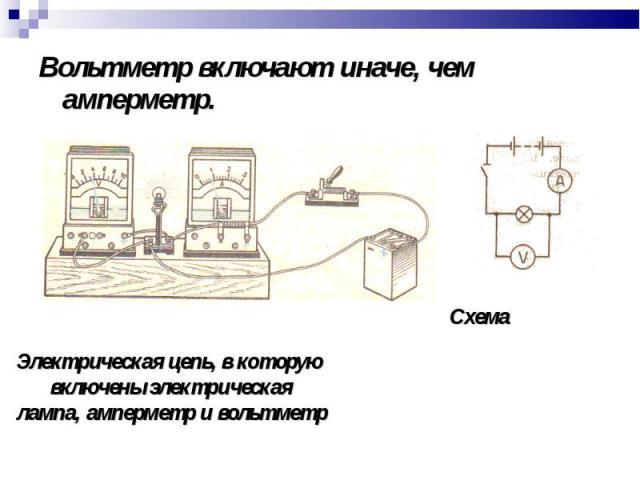 Вольтметр включают иначе, чем амперметр. Вольтметр включают иначе, чем амперметр.