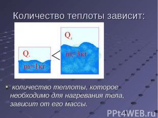 количество теплоты, которое необходимо для нагревания тела, зависит от его массы