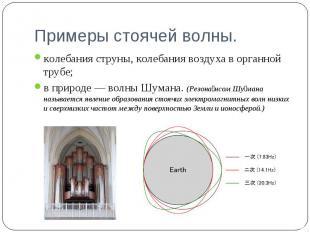 колебания струны, колебания воздуха в органной трубе; колебания струны, колебани