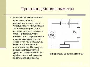 Простейший омметр состоит из источника тока, переменного резистора и чувствитель