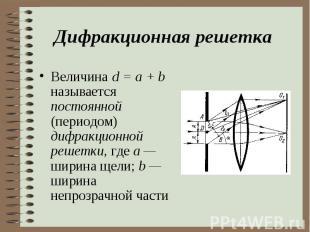 Величина d = a + b называется постоянной (периодом) дифракционной решетки, где а