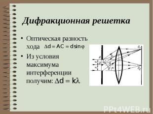 Оптическая разность хода Оптическая разность хода Из условия максимума интерфере