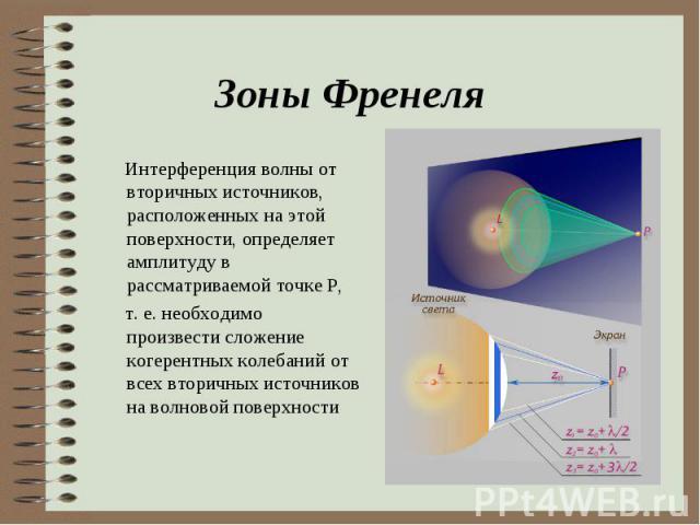 Интерференция волны от вторичных источников, расположенных на этой поверхности, определяет амплитуду в рассматриваемой точке P, Интерференция волны от вторичных источников, расположенных на этой поверхности, определяет амплитуду в рассматриваемой то…