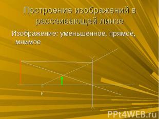 Построение изображений в рассеивающей линзе Изображение: уменьшенное, прямое, мн
