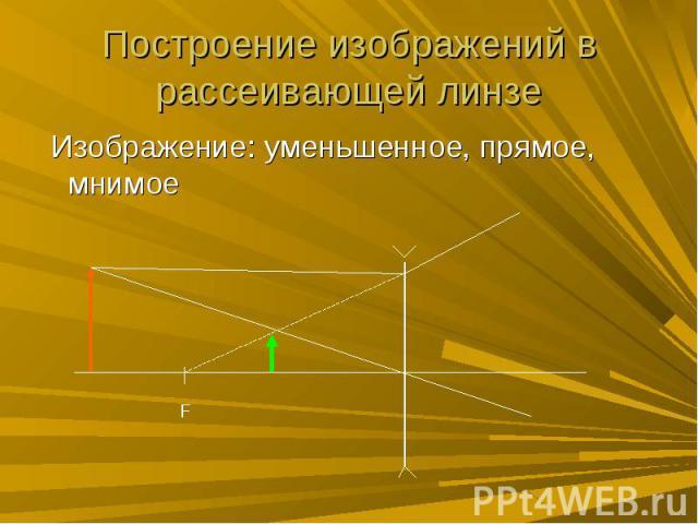 Построение изображений в рассеивающей линзе Изображение: уменьшенное, прямое, мнимое