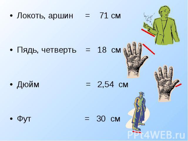 Локоть, аршин = 71 см Локоть, аршин = 71 см Пядь, четверть = 18 см Дюйм = 2,54 см Фут = 30 см