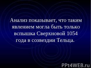 Анализ показывает, что таким явлением могла быть только вспышка Сверхновой 1054