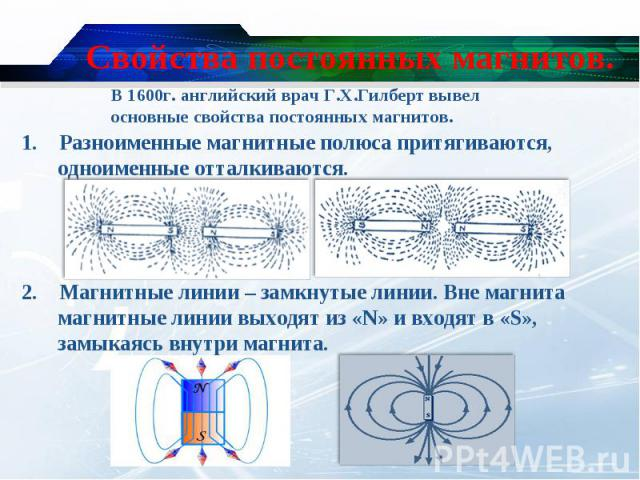 1. Разноименные магнитные полюса притягиваются, одноименные отталкиваются. 1. Разноименные магнитные полюса притягиваются, одноименные отталкиваются. 2. Магнитные линии – замкнутые линии. Вне магнита магнитные линии выходят из «N» и входят в «S», за…