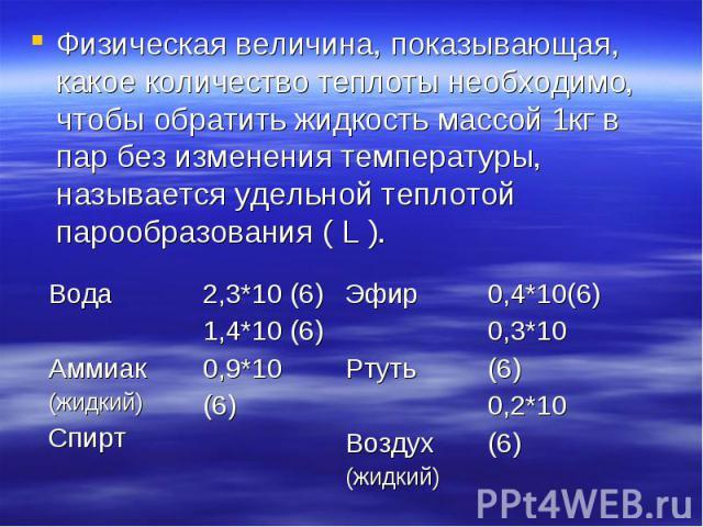 Физическая величина, показывающая, какое количество теплоты необходимо, чтобы обратить жидкость массой 1кг в пар без изменения температуры, называется удельной теплотой парообразования ( L ). Физическая величина, показывающая, какое количество тепло…