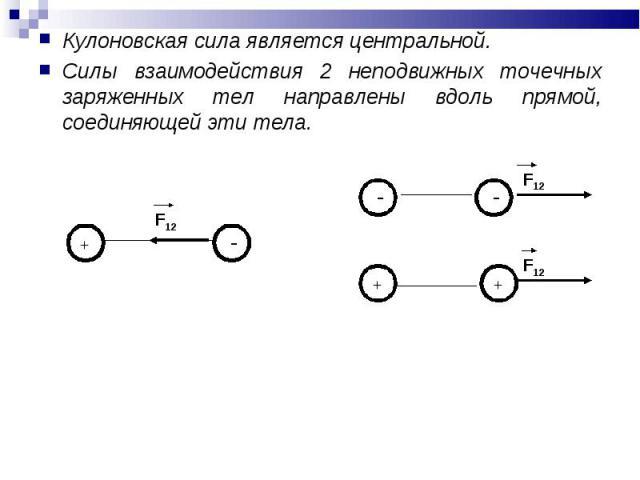 Кулоновская сила является центральной. Кулоновская сила является центральной. Силы взаимодействия 2 неподвижных точечных заряженных тел направлены вдоль прямой, соединяющей эти тела.