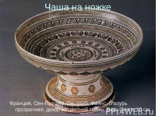 Франция, Сен-Поршер. Ок. 1535. Фаянс, глазурь прозрачная, декор из цветной глины