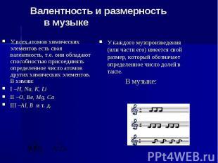 Валентность и размерность в музыке У всех атомов химических элементов есть своя