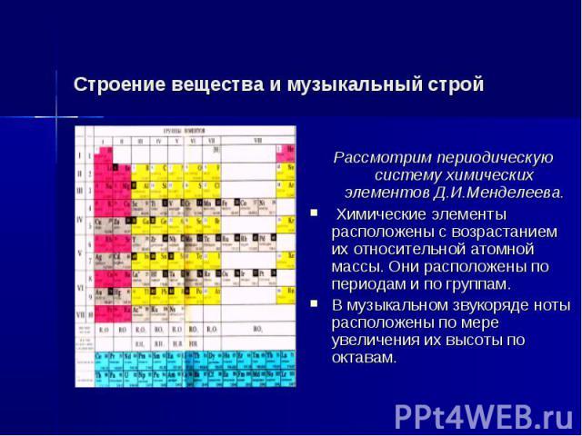 Строение вещества и музыкальный строй Рассмотрим периодическую систему химических элементов Д.И.Менделеева. Химические элементы расположены с возрастанием их относительной атомной массы. Они расположены по периодам и по группам. В музыкальном звукор…