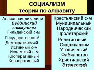 Анархо-синдикализм Буддийский коммунизм Гильдейский с-м Анархо-синдикализм Будди