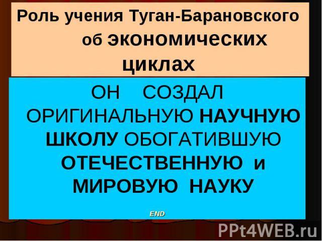 Роль учения Туган-Барановского об экономических циклах ОН СОЗДАЛ ОРИГИНАЛЬНУЮ НАУЧНУЮ ШКОЛУ ОБОГАТИВШУЮ ОТЕЧЕСТВЕННУЮ и МИРОВУЮ НАУКУ END