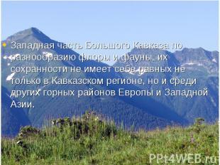 Западная часть Большого Кавказа по разнообразию флоры и фауны, их сохранности не