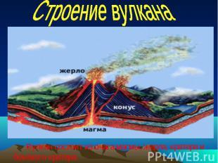 Вулкан состоит из очага магмы, жерла, кратера и Вулкан состоит из очага магмы, ж
