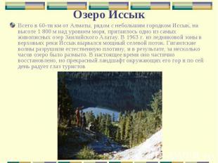 Всего в 60-ти км от Алматы, рядом с небольшим городком Иссык, на высоте 1 800 м