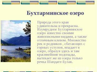 Природа этого края удивительна и прекрасна. Изумрудное Бухтарминское озеро извес