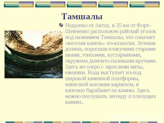 Недалеко от Актау, в 35 км от Форт-Шевченко расположен райский уголок под названием Тамшалы, что означает «веселая капель» по-казахски. Зеленая долина, поросшая плакучими старыми ивами, тополями, кустарниками, окружена дымчато-палевыми кручами. Здес…