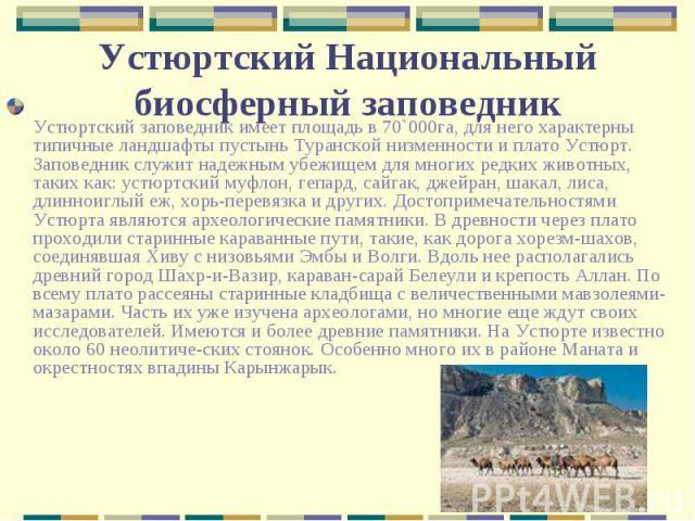 Устюртский заповедник имеет площадь в 70`000га, для него характерны типичные ландшафты пустынь Туранской низменности и плато Устюрт. Заповедник служит надежным убежищем для многих редких животных, таких как: устюртский муфлон, гепард, сайгак, джейра…