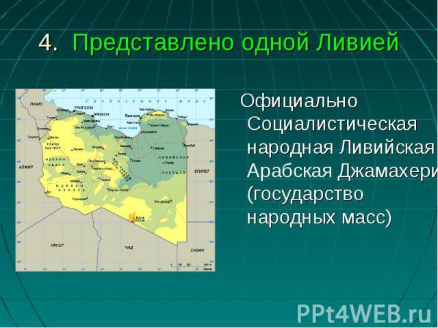 Официально Социалистическая народная Ливийская Арабская Джамахерия (государство народных масс)