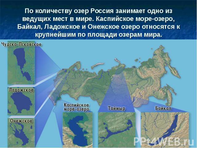 По количеству озер Россия занимает одно из ведущих мест в мире. Каспийское море-озеро, Байкал, Ладожское и Онежское озеро относятся к крупнейшим по площади озерам мира.