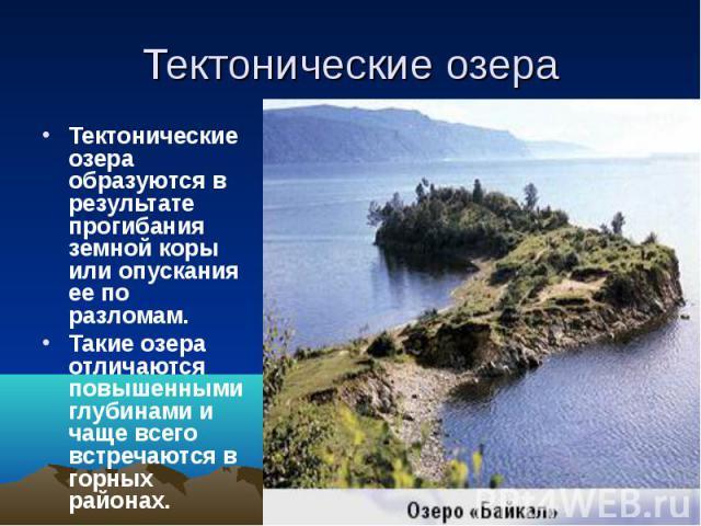 Тектонические озера Тектонические озера образуются в результате прогибания земной коры или опускания ее по разломам. Такие озера отличаются повышенными глубинами и чаще всего встречаются в горных районах.