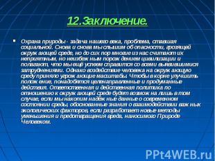 12.Заключение. Охрана природы - задача нашего века, проблема, ставшая социальной
