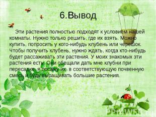 6.Вывод Эти растения полностью подходят к условием нашей комнаты. Нужно только р