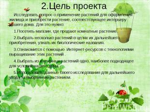 2.Цель проекта Исследовать вопрос о применение растений для оформления жилища и