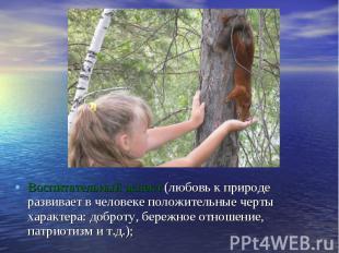 Воспитательный аспект (любовь к природе развивает в человеке положительные черты