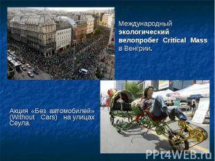 Акция «Без автомобилей» (Without Cars) на улицах Сеула. Акция «Без автомоби