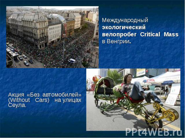 Акция «Без автомобилей» (Without Cars) на улицах Сеула. Акция «Без автомобилей» (Without Cars) на улицах Сеула.
