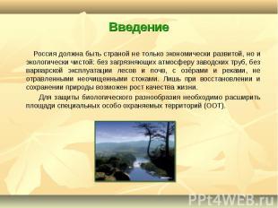 Россия должна быть страной не только экономически развитой, но и экологически чи