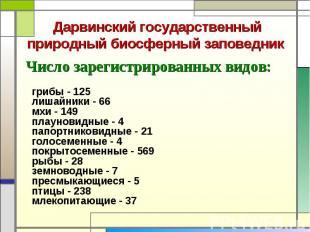 Число зарегистрированных видов: Число зарегистрированных