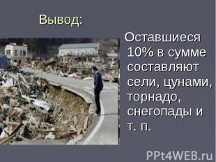 Оставшиеся 10% в сумме составляют сели, цунами, торнадо, снегопады и т. п. Остав