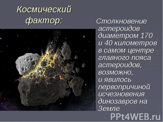 Столкновение астероидов диаметром 170 и40 километров всамом центре главного пояса астероидов, возможно, иявилось первопричиной исчезновения динозавров на Земле Столкновение астероидов диаметром 170 и40 километров всамом…