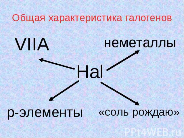Общая характеристика галогенов Hal