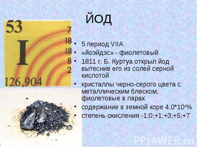 ЙОД 5 период VIIA «йоэйдэс» - фиолетовый 1811 г. Б. Куртуа открыл йод вытеснив его из солей серной кислотой кристаллы черно-серого цвета с металлическим блеском, фиолетовые в парах содержание в земной коре 4,0*10-5% степень окисления -1;0;+1;+3;+5;+7