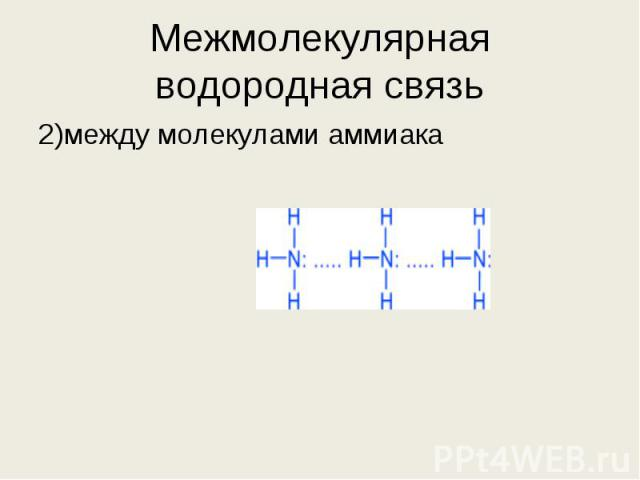 2)между молекулами аммиака 2)между молекулами аммиака