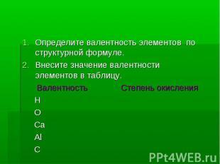 Определите валентность элементов по структурной формуле. Внесите значение валент