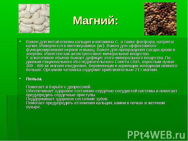 Важен для метаболизма кальция и витамина С, а также фосфора, натрия и калия. Измеряется в миллиграммах (мг). Важен для эффективного функционирования нервов и мышц. Важен для превращения сахара крови в энергию. Известен как антистрессовое минеральное…