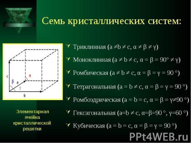 Триклинная (a ≠b ≠ c, α ≠ β ≠ γ) Триклинная (a ≠b ≠ c, α ≠ β ≠ γ) Моноклинная (a ≠ b ≠ c, α = β = 90° ≠ γ) Ромбическая (a ≠ b ≠ c, α = β = γ = 90 °) Тетрагональная (a = b ≠ c, α = β = γ = 90 °) Ромбоэдрическая (a = b = c, α = β = γ≠90 °) Гексагональ…